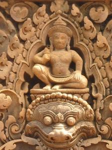 Banteay Srei god carvings on pediment of gopuras