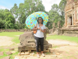 Preah Ko temple- me standing next to Nandini, Shiva's messenger