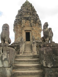 Bakong Temple- stairs leading to lotus shaped tower
