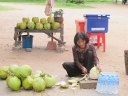 Khmer lady with coconuts