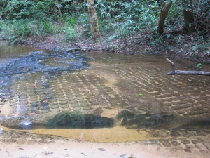 Kbal Spean-lingas and god carvings on river bed
