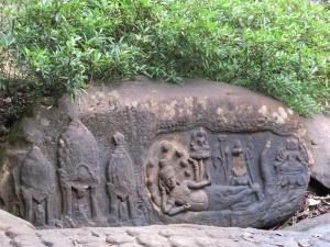 Kbal Spean Shrine- stone carving of god Vishnu reclining