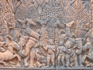 Stone carvings of animals from Mahabarata