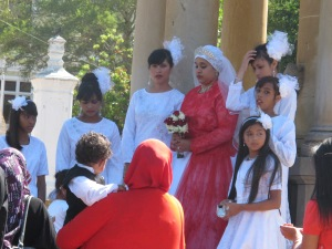 Cape Malay wedding-bride with bridesmaids
