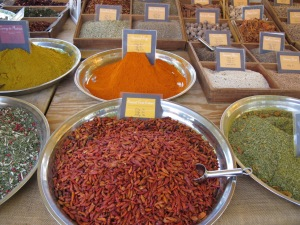 Spices and chilies, Arles market