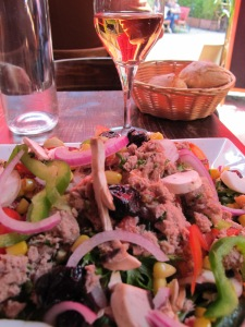 Lunch-salad and rose wine