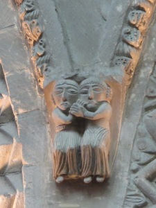 """Couple in Embrace', Cathedrale de Notre Dame, Bayeux"