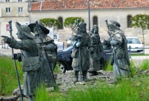 Statues of Pilgrims on the Santiago de Compostela pilgrimage road