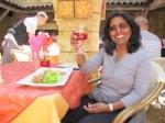 Enjoying rose with meal, Sarlat