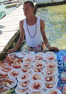 Vendor selling fresh lobster