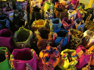 Colorful bags along street